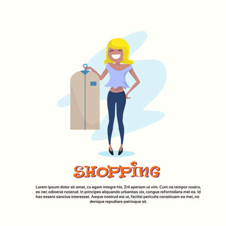 go to store: Shopping Happy Smiling Woman with Clothes Case Walking Flat Vector Illustration