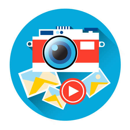 users video: Photo Camera Icon Social Network Communication Flat Vector Illustration
