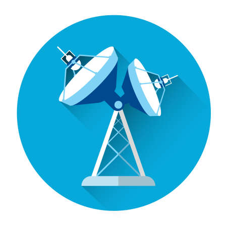antena parabolica: Satellite Antenna Connection Colorful Icon Flat Vector Illustration
