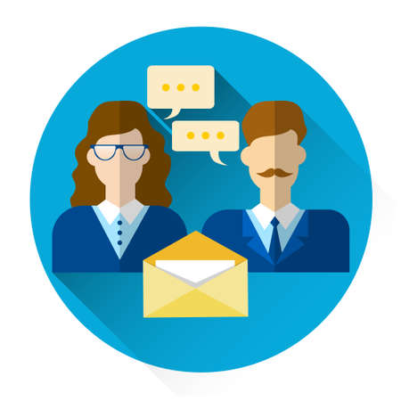 Male And Female Icon With Chat Bubble Envelope Social Mail Network Communication Flat Vector Illustration Illustration