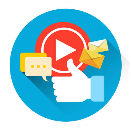 users video: Video Player Icon Like Comments Social Network Communication Flat Vector Illustration Illustration