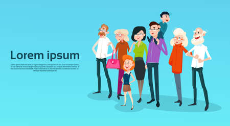 Big Happy Family Kids Parents Grandparents Flat Vector Illustration