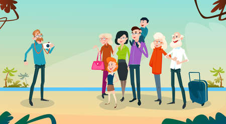 family holiday: Big Family Kids Parents Grandparents Take Photo On Seaside Vacation Summer Holiday Flat Vector Illustration