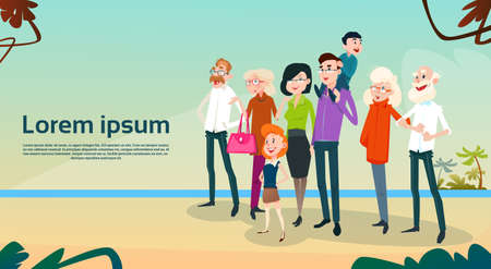 family holiday: Big Family Kids Parents Grandparents On Seaside Vacation Summer Holiday Flat Vector Illustration Illustration