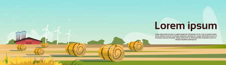 bale: Agriculture And Farming, Field With Wind Turbine Farmland Countryside Landscape Flat Vector Illustration Illustration