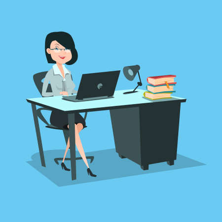 Business Woman Sitting at Desk Working Laptop Computer Flat Vector Illustration