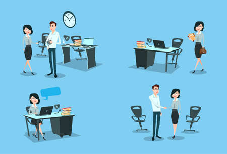 Business Woman Working Day Set Office Desk Workplace Flat Vector Illustration
