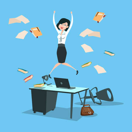 Happy Business Woman Excited Jump, Businesswoman Winner Success Flat Vector Illustration