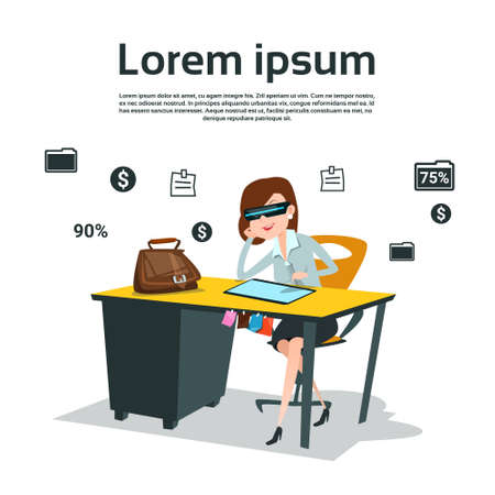 using tablet: Business Woman Sitting at Desk Using Tablet Computer Wear Virtual Reality Digital Glasses Flat Vector Illustration