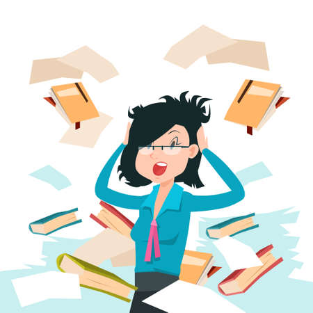 Business Woman Throw Papers Hold Hands on Head, Stressed Businesswoman Problem Documents Fly Negative Emotion Flat Vector Illustration