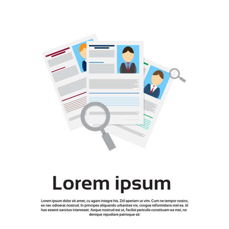 choose person: Magnifying Glass Choose Curriculum Vitae Recruitment Candidate Job Position, CV Profile Business Person Group Flat Vector Illustration Illustration