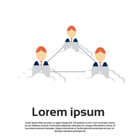 using laptop: Business People Using Laptop Computer Internet Connection Flat Vector Illustration