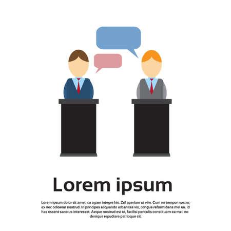 press conference: Business Man Leaders President Press Conference Flat Vector Illustration Illustration