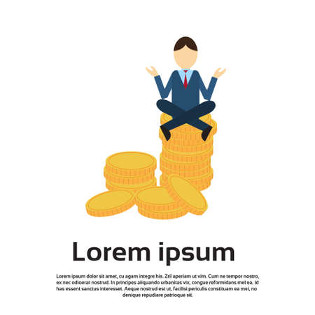 Business Man Sit Yoga Lotus Pose On Coins Flat Vector Illustration
