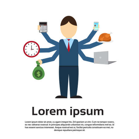 many hands: Busy Business Man With Many Hands Multitasking Overworked Flat Vector Illustration Illustration