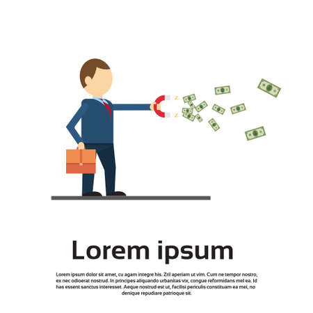 Rich Successful Business Man With Magnet Pulling Money Flat Vector Illustration
