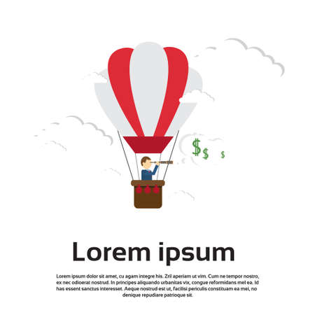 man in air: Business Man Fly Air Balloon Hold Binocular Looking For Successful Future Concept Flat Vector Illustration
