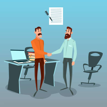 Two Businessman Hand Shake Talking Agreement Concept, Business Man Handshake Office Flat Vector Illustration