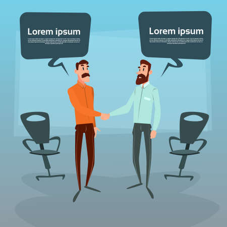 chat box: Two Businessman Hand Shake Talking Chat Box Bubble Communication Concept, Business Man Handshake Office Flat Vector Illustration