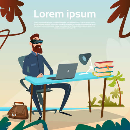 headset business: Business Man Sitting Desk Computer Wear Virtual Reality Digital Glasses Headset Workplace On Tropical Beach Flat Vector Illustration