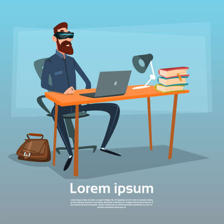 headset business: Business Man Sitting Desk Office Wear Virtual Reality Digital Glasses Headset Working Place Computer Workplace Flat Vector Illustration Illustration