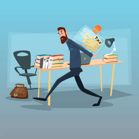 Business Man Carry Money Tax Concept Flat Vector Illustration