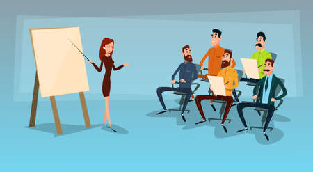 associates: Business People Group Presentation, Businesspeople Team Training Conference Meeting Flat Vector Illustration Illustration