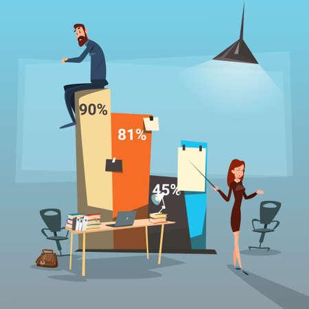 Los hombres de negocios Grupo de Presentación, empresarios Ilustración Gráfico financiero del éxito plana vectorial