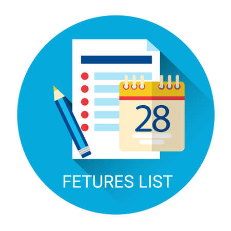 calender icon: Features Check List Icon Calender Page Business Plan Flat Vector Illustration