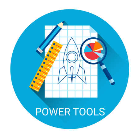 power tools: Power Tools Business Icon Flat Vector Illustration Illustration
