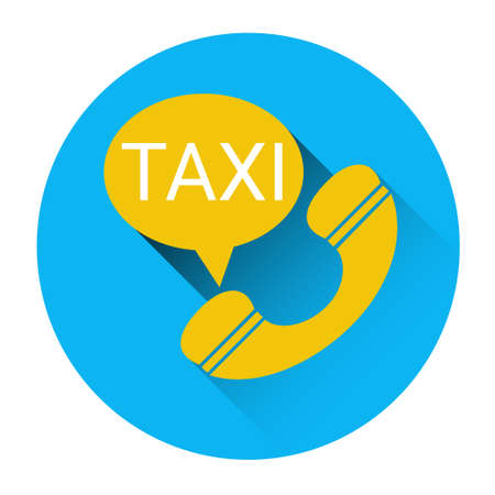 application button: Taxi Service Icon Car Phone Call Application Button Flat Vector Illustration