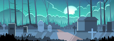 grave stone: Halloween Banner Cemetery Graveyard Grave Stone Night Flat Vector Illustration