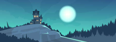 gothic castle: Gothic Castle View Night Moonlight Halloween Holiday Banner Flat Vector Illustration Illustration