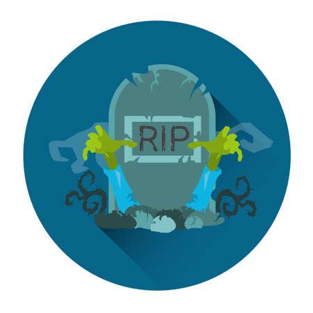 grave stone: Tomb Grave RIP Stone Zombie Halloween Holiday Icon Flat Vector Illustration Illustration