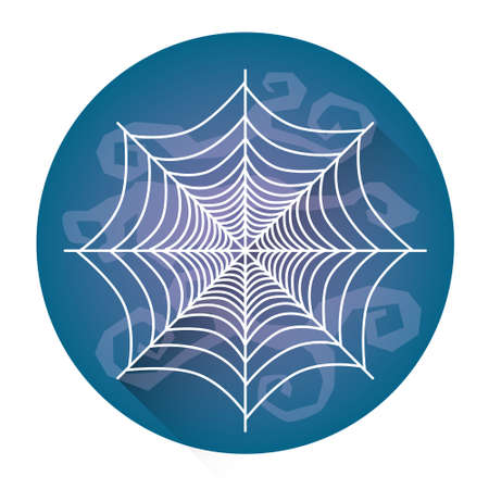 White Spider Web Halloween Holiday Icon Flat Vector Illustration Illustration