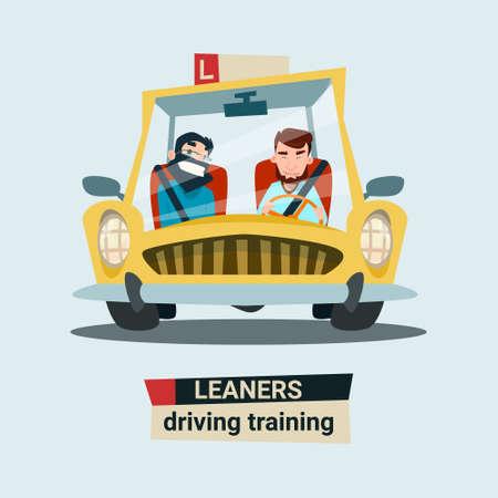 Rijden Opleidingen Practice Instructeur met studenten in de auto Flat Vector Illustration Stock Illustratie