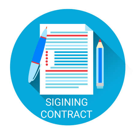 signing contract: Signing Contract Icon Business Agreement Concept Flat Vector Illustration Illustration