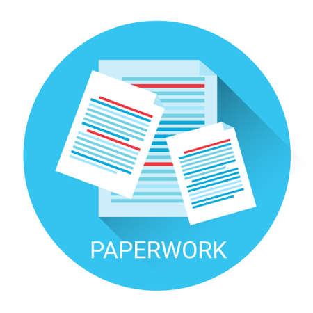 paper work: Paper Work Document Contract Concept Business Icon Flat Vector Illustration