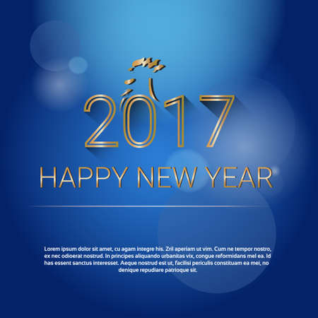 happy new year banner: Happy New 2017 Year Web Banner Flat Vector Illustration Illustration