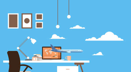 plane table: Empty Workplace Table Laptop Buy Ticket Online Application Travel Booking Air Plane Flight Flat Vector Illustration