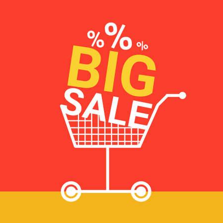 Shopping Cart Big Sale Banner Vector Illustration Illustration