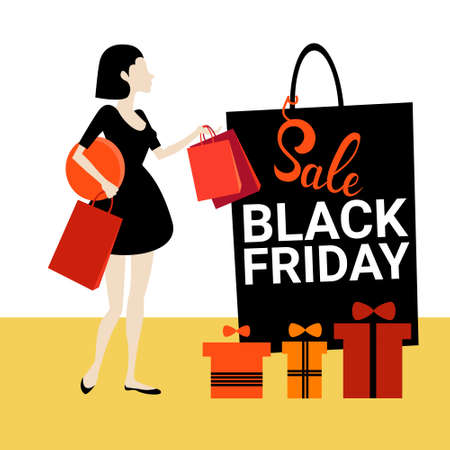 Woman With Shopping Bag Present Boxes Black Friday Big Sale Banner Vector Illustration