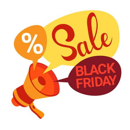 holiday shopping: Megaphone Black Friday Big Sale Holiday Shopping Banner Vector Illustration Illustration