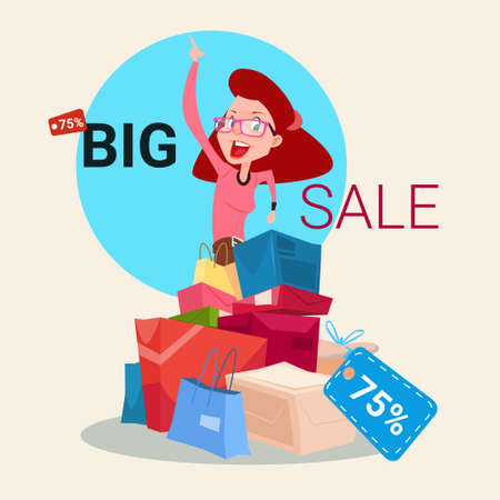 Woman With Shopping Bag Present Box Black Friday Big Sale Banner Vector Illustration Vectores