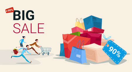 People Run With Shopping Cart Bag Present Box Black Friday Big Sale Banner Vector Illustration  イラスト・ベクター素材