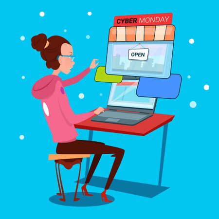 cyber girl: Girl Using Laptop Computer Cyber Monday Big Sale Shopping Flat Vector Illustration