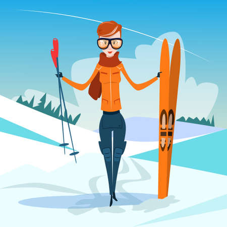 slope: Woman Standing Hold Ski Winter Activity Sport Vacation Snow Mountain Slope Flat Vector Illustration