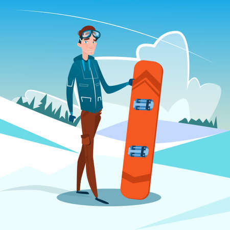 slope: Man Standing Hold Snowboard Winter Activity Sport Vacation Snow Mountain Slope Flat Vector Illustration