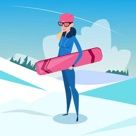 Woman Standing Hold Snowboard Winter Activity Sport Vacation Snow Mountain Slope Flat Vector Illustration Illustration