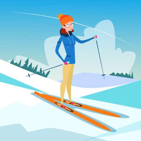 slope: Woman Skiing Winter Activity Sport Vacation Snow Mountain Slope Flat Vector Illustration Illustration